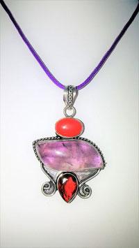 collier pendentif argent amethyste rubis