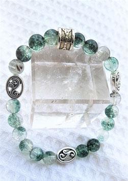 bracelet quartz fantomes inclusion vert