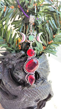 collier triple lune rubis