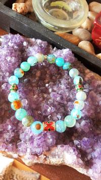 bracelet agate de feu perle tibetaine metal