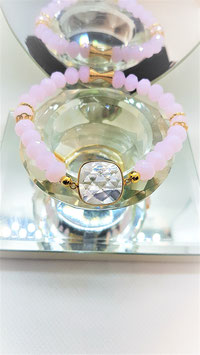 bracelet quartz rose perle facette mat connecteur plaqué or crystal quartz rose