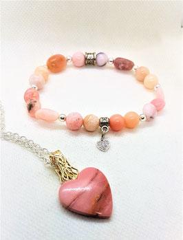 ensemble pendentif et bracelet opale rose