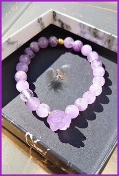 bracelet amethyste+fleur amethyste