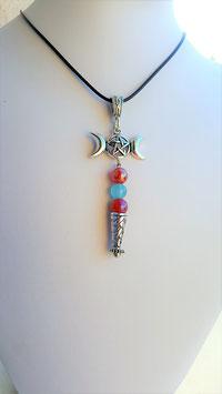 collier pendentif triple lune pierre aqua bleu et cornaline