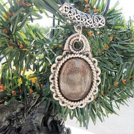 collier pendentif obsidienne dorée