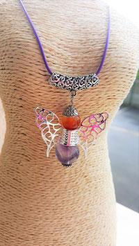 collier pendentif ange amethyste cornaline