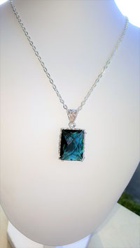 collier pendentif argent 925 pierre topaze