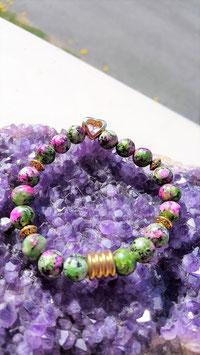 bracelet zoisite coeur plaqué or