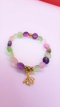 bracelet fluorite perle plate ronde lotus