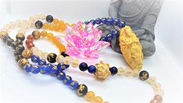 collier mala bouddha fleur de lotus bois