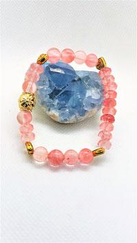 bracelet quartz cerise coeur metal dorée