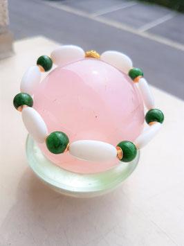 bracelet jade 2 pierres blanche et verte