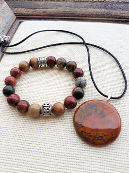 parure pendentif bracelet jaspe picasso