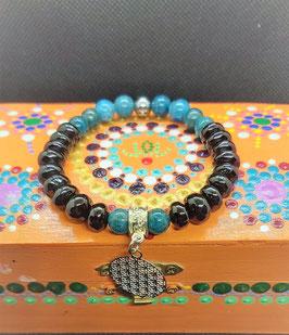 bracelet spinelle apatite fleur de vie