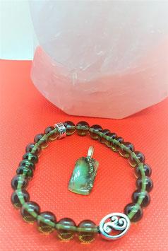 bracelet pendentif moldavite