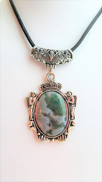 collier agate mousse spport metal ange