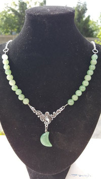 collier perle aventurine lune