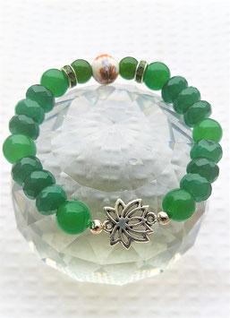 bracelet jade vert foncer fleur de lotus