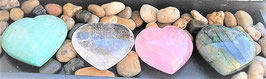 coeur mineraux amazonite crystal de roche quartz rose labradorite