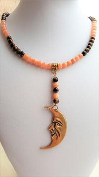 collier de la lune protectrice oeil de tigre,taureau,faucon+pierre du soleil