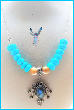 colier opale bleu labradorite