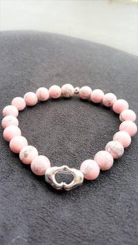 bracelet magnesite corail main coeur metal