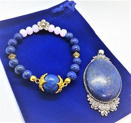 parure lapis lazuli bracelet pendentif 4 x 3 cm