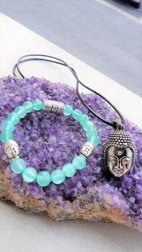 parure jade bouddha argent