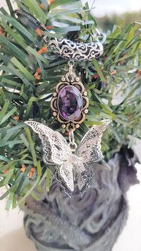 papillon aile d'ange filigrane pierre amethyste 925 argent