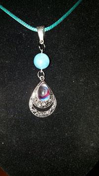 collier pendentif goutte argent perle aigue marine