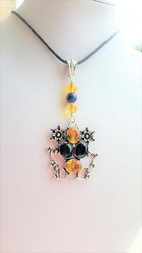 collier pendentif citrine argent 925 topaze bleu