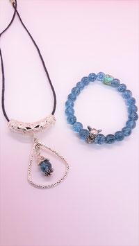 parure aqua bleu crystal glacé