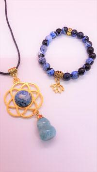 parure fleur de lotus agate bleu