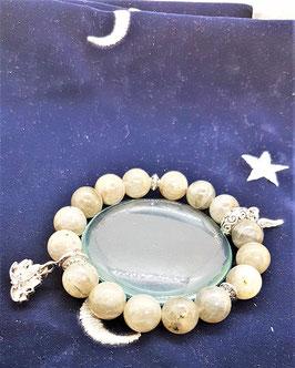 bracelet labradorite lotus plume d'ange argent 925