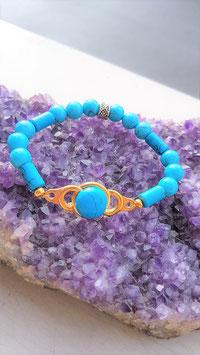 bracelet howlite turquoise ronde et tube