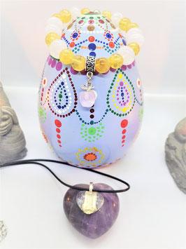 bracelet cristal de roche citrine +petit coeur offert cristal de roche