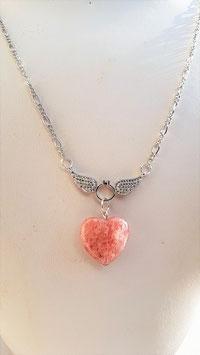 collier aile d'ange anneau diamant coeur quartz cerise