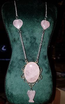 creations quartz rose pendentif coeur