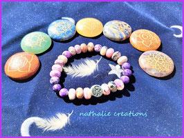 bracelet charoite perle rondelle naturel