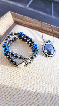 parure hematite pendentif bracelet double rang sur double coeur metal