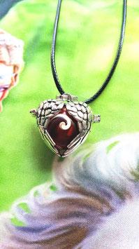 collier perle oeil de shiva coeur metal