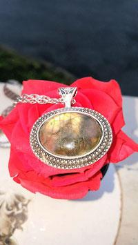 collier chaine argent pierre labradorite 4 cm