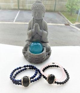 bracelet double rang pierre centrale obsidienne dorée