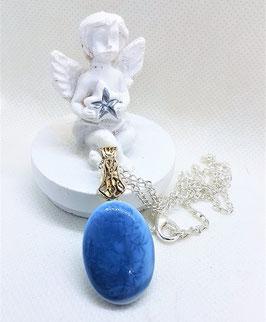pendentif opale bleu naturel bleu intense