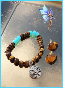 bracelet oeil de tigre oeil de taureau opale bleu