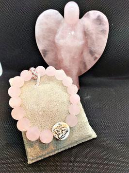 bracelet quartz rose perle de 1 cm mat