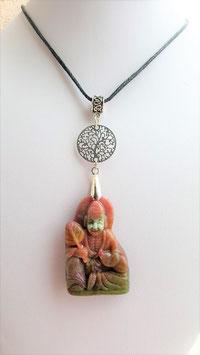 collier bouddha arbre de vie agate mousse