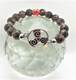 bracelet quartz fumé triskel