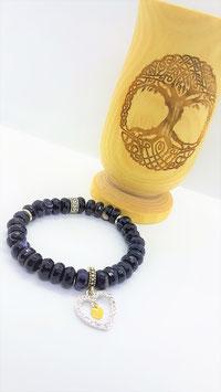 bracelet onyx coeur argent plaqué or