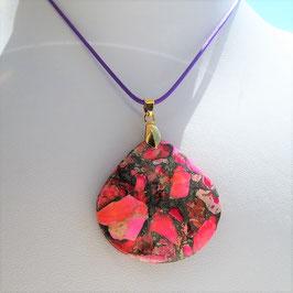 collier pendentif jaspe sediment rose rouge